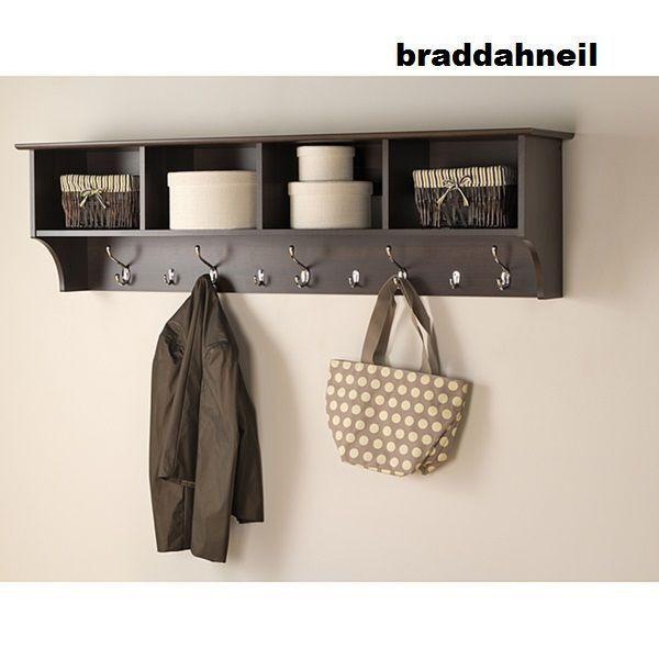 Wall Cloth Hanger espresso 60 wide hanging entryway shelf coat rack storage office