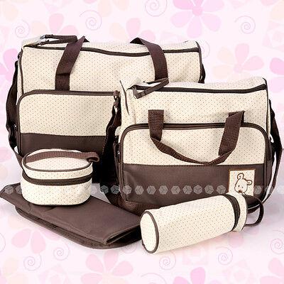 5 tlg. Baby Wickeltasche Pflegetasche Kindertasche Babytasche BRAUN