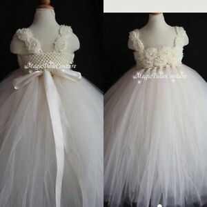 Little girls' custom tulle ivory ball gowns two sizes