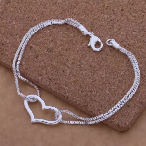 Womens 925 Sterling Silver Open Heart Love Box Chain Bracelet Wife Girlfriend B1 Bracelets