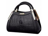 Fashion Crocodile Print and Metal Design Tote Bag