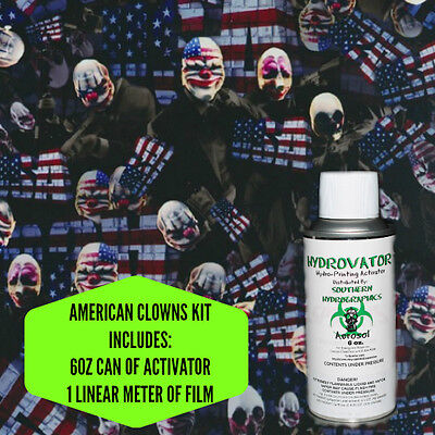 Hydrographic Film Water Transfer Hydro Dip 6oz. Activator American Clowns Kit