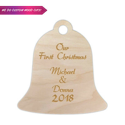 Custom Christmas Bell Wood Cut With Engrave your Names- Christmas Gift Decors