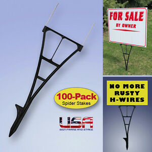 100 Outdoor Sign Stakes (Wire Tip Yard Stakes) For Political Campaigns & MORE!