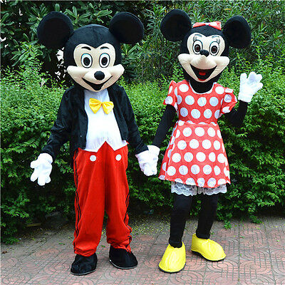 Hot Mickey Mouse and Minnie Mascot Costume Adult Size Fancy Dress Halloween](Mickey And Minnie Halloween Costumes)