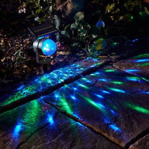 Solar Powered Colour Changing Revolving LED Spotlight Garden Party Stake Light
