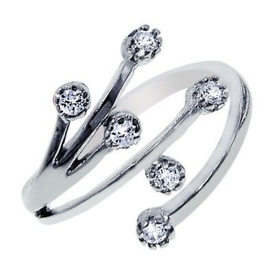 10k Solid White Gold Cubic Zirconia Adjustable Ring or Toe Ring Cubic Zirconia White Gold Toe Ring