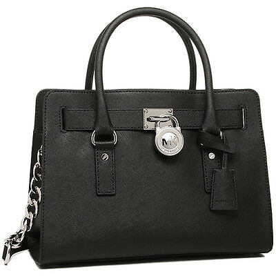 NWT MICHAEL KORS Hamilton Saffiano Leather Satchel Tote Bag Purse Handbag BLACK