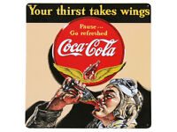 """Vintage Metal Sign /""""Your Thirst Takes Wings/"""" 14/"""" X 14/"""" Gift For Pilots or Hangar"""