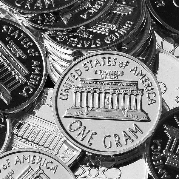 Lot of 30 - 1g .999 Fine Silver Round Bar Bullion / one cent Design  oz RE330