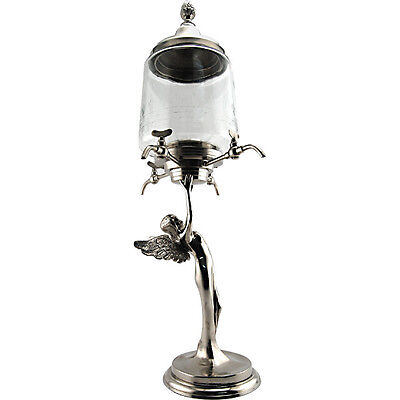 Decorative Metal Fairy Absinthe Fountain w/ Glass Bowl – Four Faucets - French