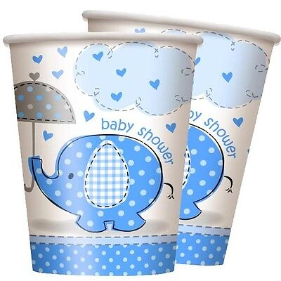 Baby Shower Elefant Becher blau, 8er Pack