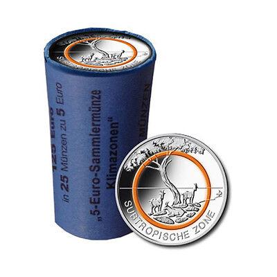 25er Rolle 5 Euro Deutschland Subtropische Zone 2018 bankfrisch Prägebuchstabe A