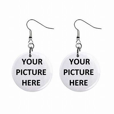 Womens Button Earrings Pair Custom Personalized YOUR PICTURE PHOTO LOGO