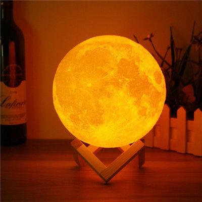 3D Magical Two Tone Moon Lamp Usb Charging Luna Led Night Light Touch Sensor Gif