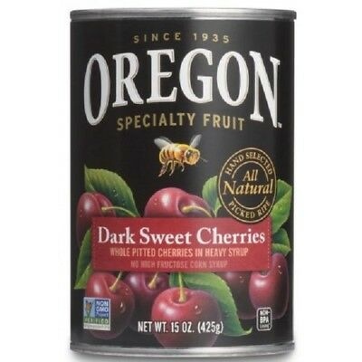 (3 Pack) Oregon Fruit Pitted Dark Sweet Cherries in Heavy Syrup, 15 oz. Can Cherry Pitted Fruit