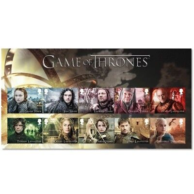 2018 GAME OF THRONES FILMS CHARACTER COLLECTABLE GB STAMP SET LIMITED EDITION