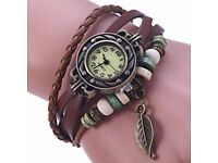 Retro Women Woven Bracelet Quartz Watch Leather Strap Leaf Pendent