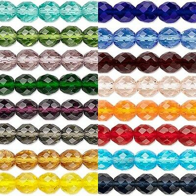 Beads - 50 Transparent Czech Glass Round Faceted Fire Polished Beads In Sizes Small -Big
