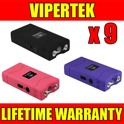 (9) VIPERTEK VTS-880 Mini Stun Gun 3 Colors Mix - Wholesale Lot