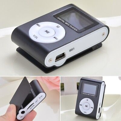 UK POP LCD Digital MP3 Player Clip USB Music Play Support 32GB Micro SD TF Card