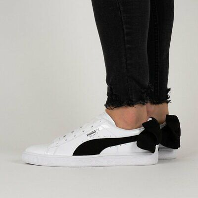 Puma Women's Basket Bow Suede Trainers  White in Various Size