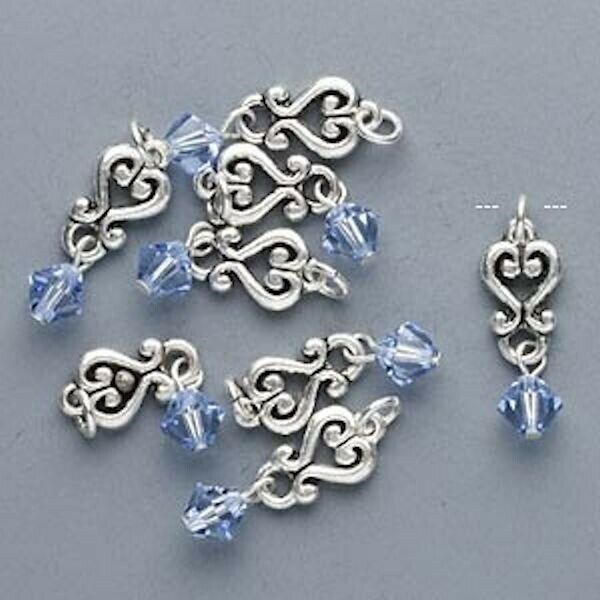 8 Antiqued Silver Pewter Made with Light Sapphire Blue Swarovski Crystals *