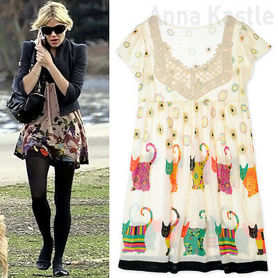 AnnaKastle New Womens Multi-Coloured Cute Cats Mini Dress Long Top size S - M