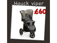 SHOP DISPLAY UNUSED HAUCK VIPER SPORTY 3 WHEELER ALL TERRAIN PRAM PUSHCHAIR BUGGY GREY ONLY £60