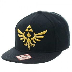 8dfc99cea6c NINTENDO LEGEND OF ZELDA BLACK GOLD TRIFORCE LOGO SNAPBACK HAT CAP FLAT  BILL NWT