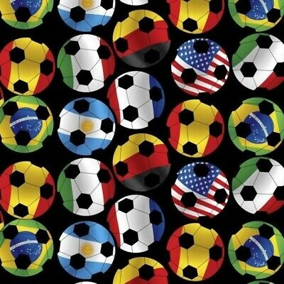 Sports Action Soccer Day International Flag Ball Cotton Fabric Fat Quarter](Soccer Ball Fabric)