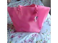Bright pink croc bag