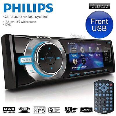 "New PHILIPS CED232 3"" Screen Car DVD CD MP3 Player Car Stereo AM/FM Headunit"