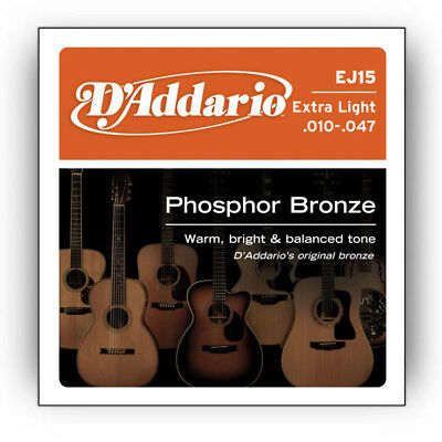 Купить D'Addario EJ15 Phosphor Bronze Extra Light Acoustic Guitar Strings .010-.047