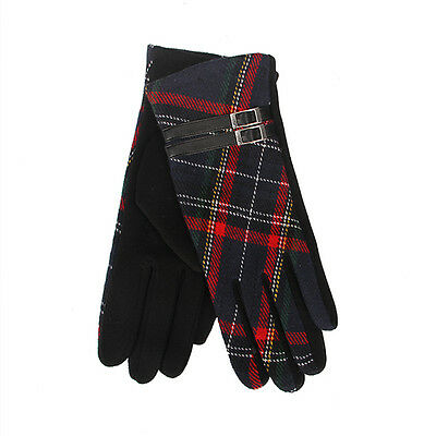 Tartan Traditions Scottish Black and Red Tartan Ladies Gloves with Brown Buckle  - Black And Red Gloves