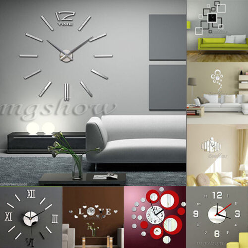 3D DIY Mirror Wall Clock Crystal Living Room sticker Digital Modern Home Decor