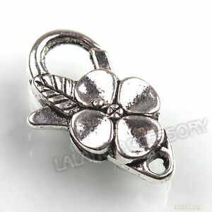 20x-160615-New-Flower-Antique-Silver-Plated-Lobster-Clasps-Jewelry-Finding-25mm