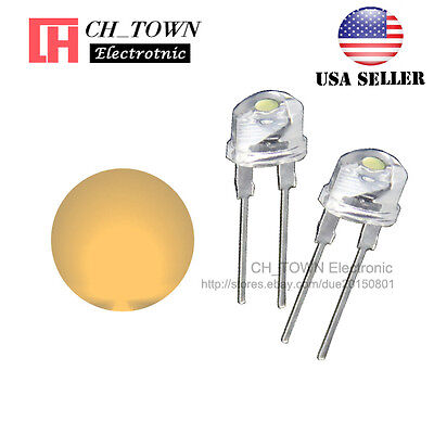 50pcs 8MM Water Clear Warm White Light Straw Hat 0.5W LED Diodes Wide Angle USA - Led Hats Wholesale