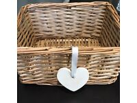 X2 matching wicker baskets wedding Christmas hamper shabby chic