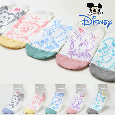 5 Pairs Women Disney Character Socks Girls Big Kids Mickey Mouse Cartoon Socks