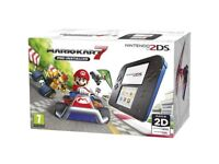 Nintendo 2ds with mario kart 7 installed brand new condition boxed with charger blue and black