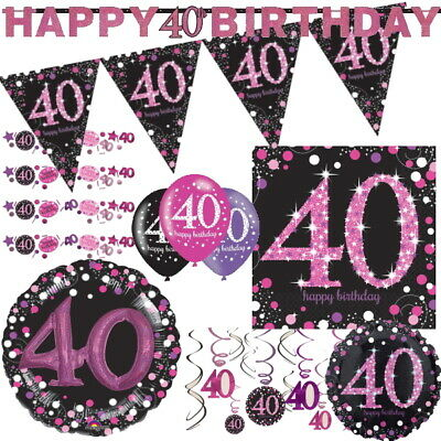 40th Birthday Tableware (40th Pink Sparkling Celebration Birthday Age Tableware, Decorations and)