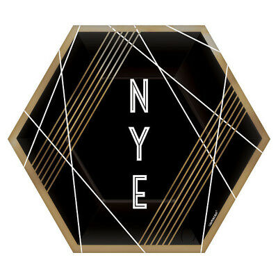 BLACK GOLD AND WHITE NYE HEXAGON DESSERT/APPETIZER PLATES-SET OF 8 (7in)-NEW](Gold And White Paper Plates)