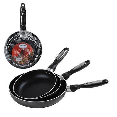 3pc Aluminum Fry Pan Set Healthy Eco Friendly Non-Stick Coating Saute Skillet