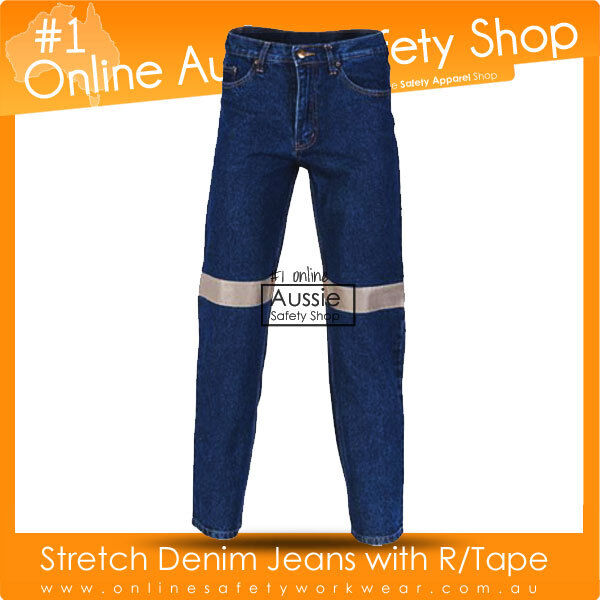 MENS COMFORT STRETCH DENIM BLUE WORKWEAR JEANS DAY/NIGHT REFLECTIVE SAFETY PANTS