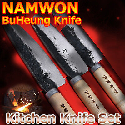 (Namwon) Railroad Steel Kitchen Chef Blacksmith Knife Set Santoku Handmade 3Pcs
