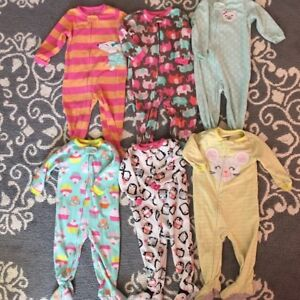 Lot of 6 fleece sleepers for girls - 18 months