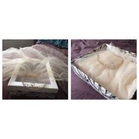 Champagne Veil with Hair Grip, Tiara & Box - Brand New £22