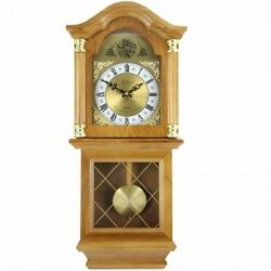 Bedford Clock Collection Classic 26 Golden Oak Chiming Wall Clock With Swinging