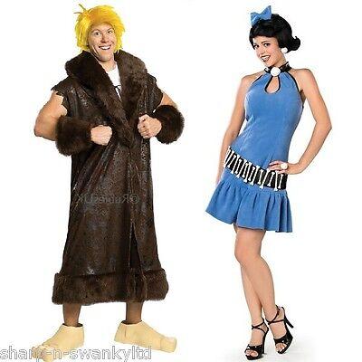 Couples Mens Ladies Fancy Dress Betty AND Barney - Flinstone Kostüme